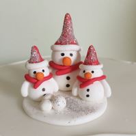 Handmade Polymer Clay Snowman Cake Topper Decoration