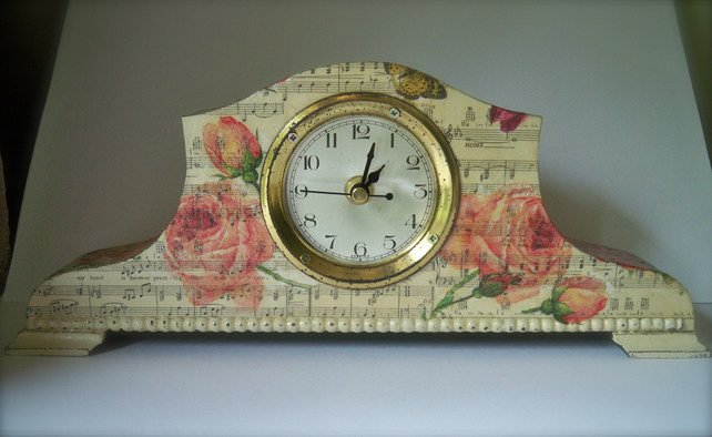 Steam Punk Mantle Clock Songs and Roses Decoupage