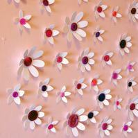 White Button Flower Wall Art Decorations - set of 35