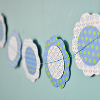 Spotty Blue Paper Flower Bunting
