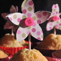 Button Flower Cake Toppers - Set of 6