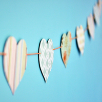 Valentine Patterned Paper Heart Bunting - 2.5m length