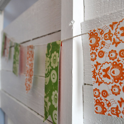 Orange and Green Vintage Paper Bunting - 3m length
