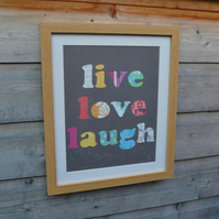 Valentine - Live Love Laugh - Framed Collage Picture