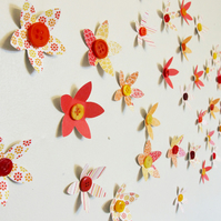 Button Flower Wall Art Decorations - set of 35
