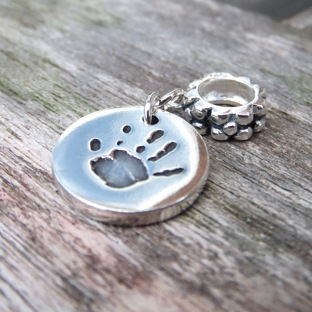 Pandora Style Hand Foot Or Paw Print Charm With Name Text On Reverse