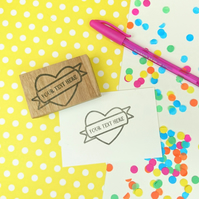 Handmade Personalised Heart and Banner Stamp