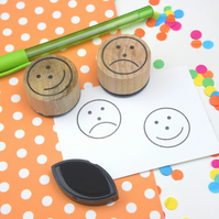 Handmade sad face and happy face stamps