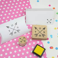 Personalised Crossed Arrows Couple Stamp