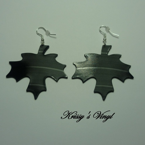 Sterling Silver Vinyl Record Earrings - Canadian Maple Leaves