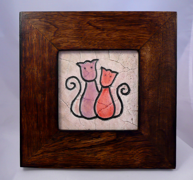 Lovely Cats Mosaic in Wooden Frame