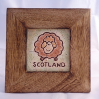 Scottish Sheep Mosaic in Wooden Frame