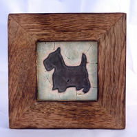 Black Scottie Mosaic in Wooden Frame
