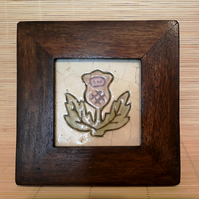 Scottish Thistle Mosaic in Wooden Frame