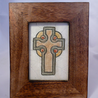 Celtic Cross Mosaic in Wooden Frame