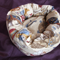 Lovely soft bed for cat or small dog with circus print
