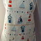 Hand made full apron with beach hut, lighthouses, sailboats, bunting