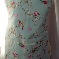 Hand made full apron with lovely birds and flowers