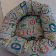 Lovely soft comfy bed for cat or small dog in designer fabric.
