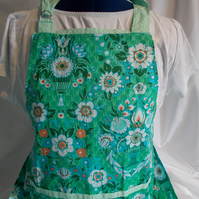 Hand made full apron designer fabric in green