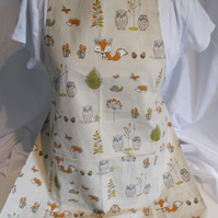 Hand made full apron woodland creatures
