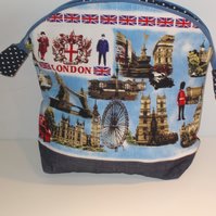 Toiletries bag with fun print of London sites