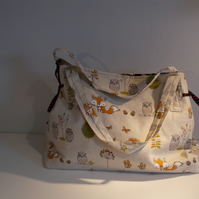 Fabric shoulder tote bag
