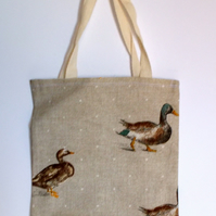 Mini tote bag printed with mallards