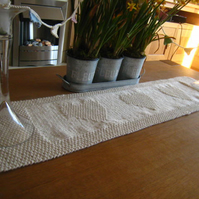 PATTERN ONLY Hand Knitted Table Runner Shaker Hearts Design