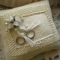 Ringbearer's Cushion Hand Knit  Wedding Pattern
