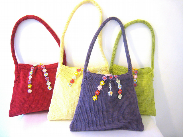 PATTERN ONLY Hand Knit Cotton Tote Bag - Folksy