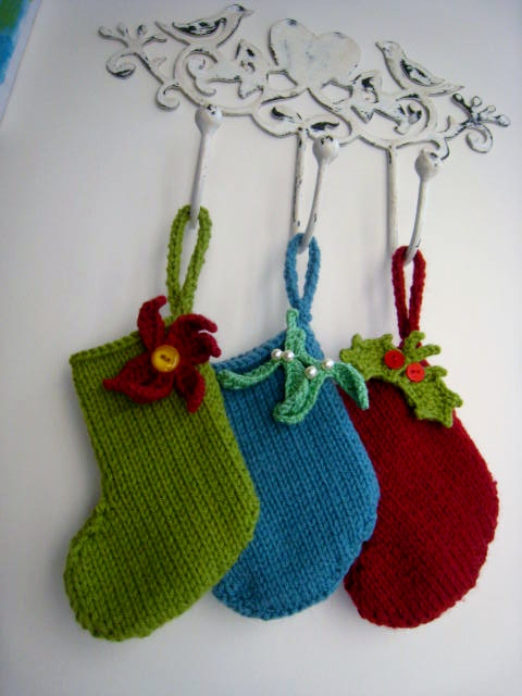 Knitting Pattern For Mini Christmas Stocking : PATTERN ONLY Hand Knitted Mini Christmas Stocking - Folksy