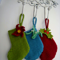 PATTERN ONLY Hand Knitted Mini Christmas Stocking