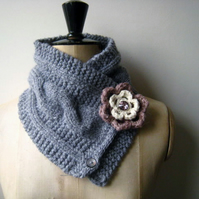 Ladies Hand Knitted Chunky Blue Alpaca Neck warmer Scarf