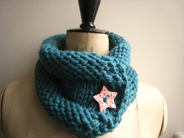 Ladies Hand Knitted Super Chunky Neck warmer Te... - Folksy