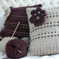 PATTERN ONLY Hand Knitted Super Chunky Cushions Throw and  Brooch