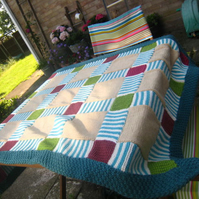 PATTERN ONLYPatchwork hand Knit Picnic Blanket Throw