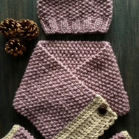 PATTERN ONLY Chunky Moss stitch Hat, Neck Warmer, Gloves