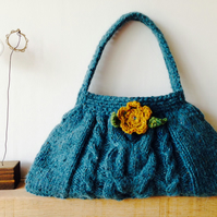Hand knit Pattern Textured Cable Handbag