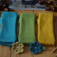 Lace Trim Fingerless Mittens Assorted Colours