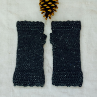 Hand knitted Tweed Handwarmers Dark Grey