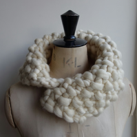 Giant Knit Neckwarmer Cowl Pure Merino Scarf Gift
