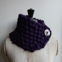 Giant Knit Neckwarmer Cowl Pure Merino Scarf Gift Purple