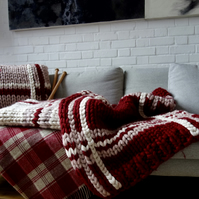 Giant Knit Blanket Bed Runner Plaid Red and Cream Throw