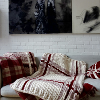 Giant Knit Blanket Bed Runner Plaid Cream and Red Throw