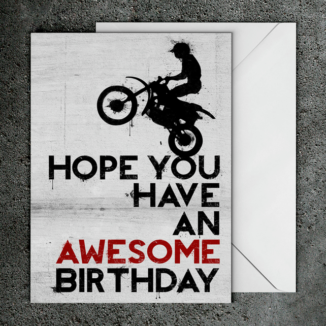 Motocross Moto Birthday Card A5 148cm x 21cm Folksy – Motocross Birthday Cards