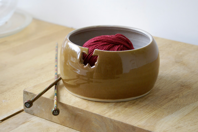 SALE - The butterfly yarn bowl, hand thrown pottery yarn bowl in copper penny