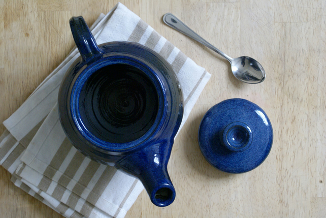 Stoneware pottery teapot - wheel thrown and glazed in midnight blue