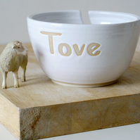 Made to Order - Stoneware little star yarn bowl with your own message