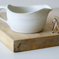Traditional stoneware pottery gravy boat - hand thrown in vanilla cream